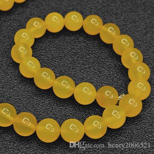 DIY-Halbzeuge Natürliche 8 mm Gelbe Jade Runde Perlen 15,5 Zoll