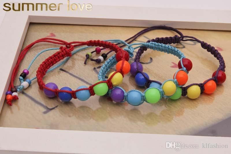 Promotional Colorful Plastic Weave Beads Bracelet for Women Kids Handmade Bohemian Style Ajustable Rope Bracelet Wholesale