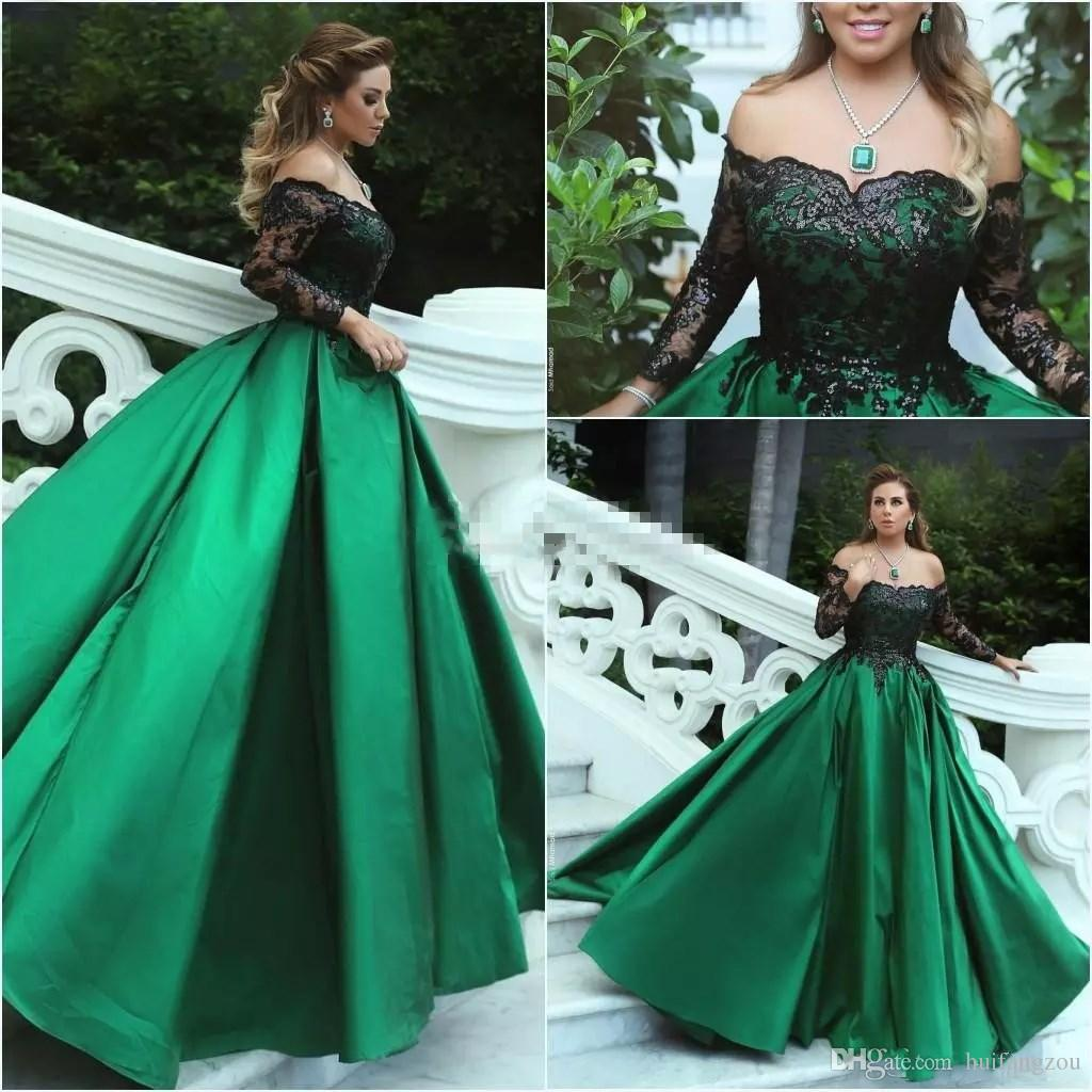 2018 Green Black Ball Gown Prom Dresses Off Shoulder Long Sleeves Sequins  Lace Satin Plus Size Evening Gowns Formal Dresses Design My Own Prom Dress  ...