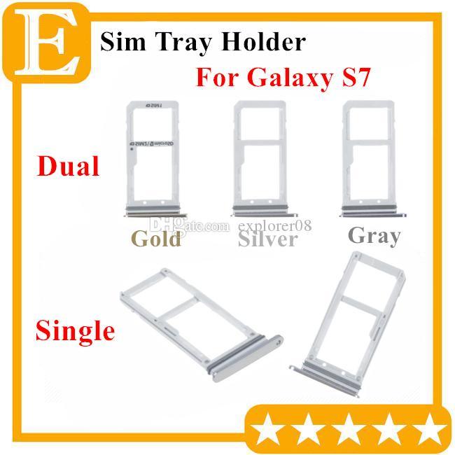 100% neue Doppel Sim Micro SD Speicherkartenhalter Slot für Samsung Galaxy S7 G930 Dual Single Sim Tray 10PCS