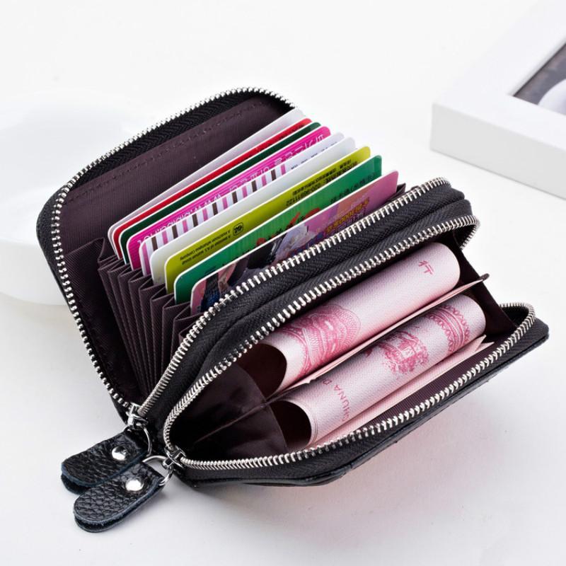 2018 Packung Leder Doppel Geldbörse Karte Multi-Karten-Karte Reißverschluss Brieftasche Neue Paket Bit Erstschicht Leder Orgel KXSLK