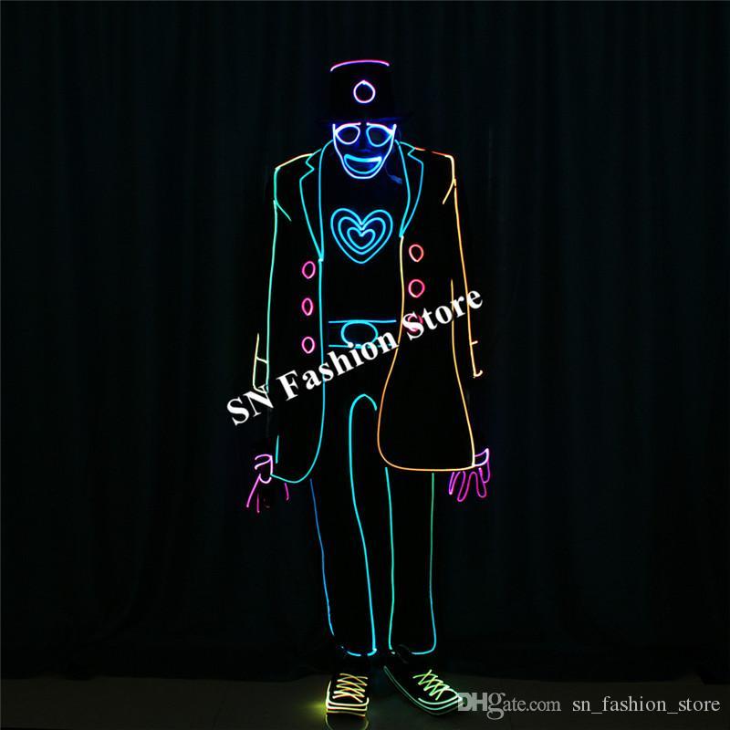 TC-195 DMX512 Programmable ballroom dance led costumes bar mask ballroom stage wears cloth MJ robot suit lighted luminous color performance