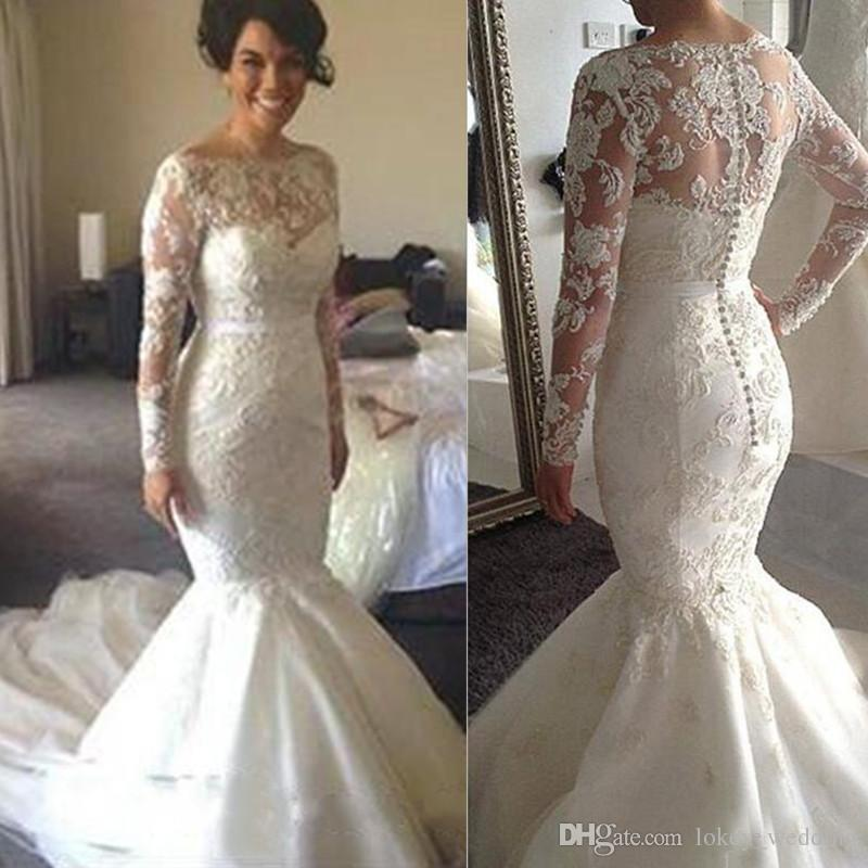 Long Sleeve Wedding Dresses Plus Size Mermaid Sheer Covered Buttons Online Shop China Lace Beaded Bridal Gowns 2018 Wedding Dresses Pictures White