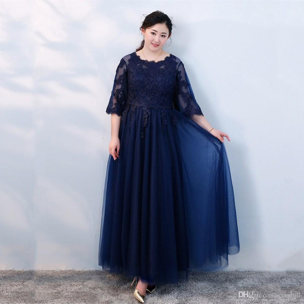 Plus Size Prom Dresses Navy Blue Half Sleeve Long Evening Dresses With Lace  Appliques Puffy Tulle Glamorous Formal Wear Evening Gowns 2018 Shop Dress  ...