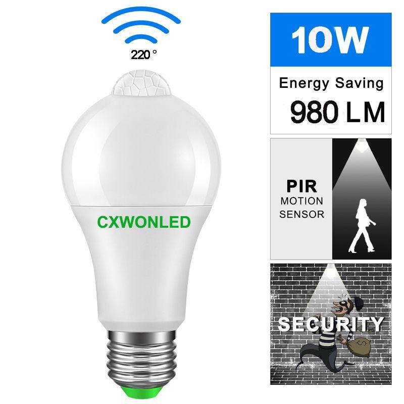 Lampadina B22 E27 PIR Sensore di movimento Design in alluminio Luce notturna a LED 10W 85-265V Lampada per balcone Corridoio Percorso Giardino