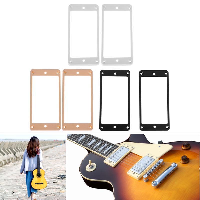2X Gitarre Humbucker Pickups Rahmen Montagering für LP E Gitarre Weiß