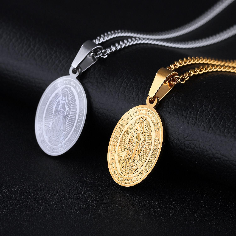 Серебряный Золотой Цвет Мода Простой Религиозной Мадонна Кулон Ожерелье Из Нержавеющей Стали Звено Цепи Ожерелье Ювелирные Изделия Подарок 1138