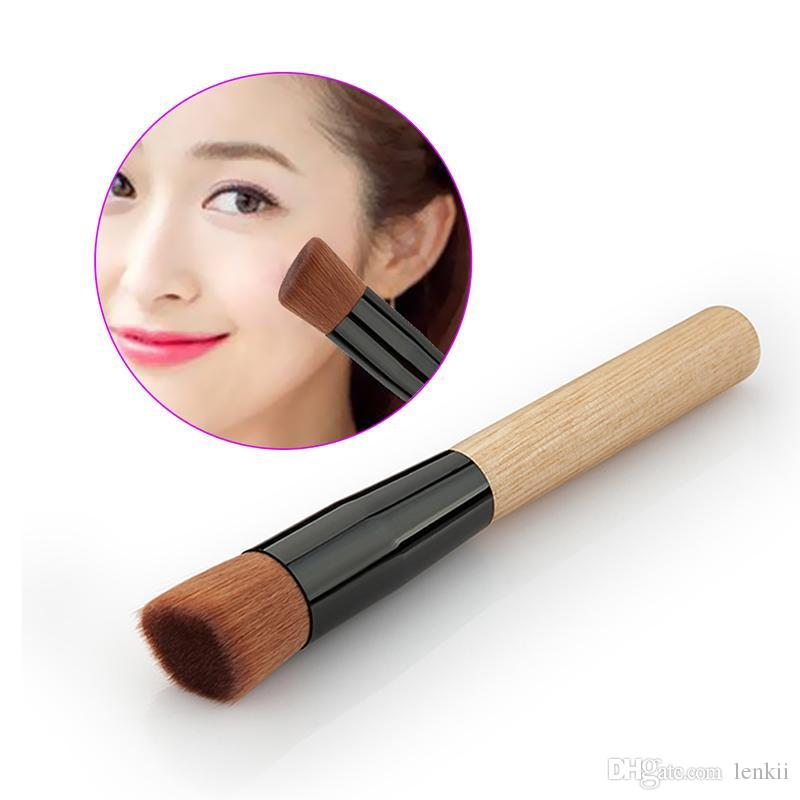 Flat Foundation Brush Universal Makeup Powder Beauty Oblique Head Brush Wood Handle Tools