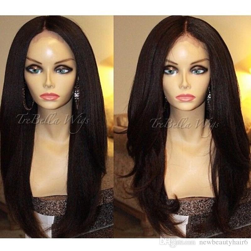 Longo yaki em linha reta com aspecto natural do cabelo sintético rendas frente peruca peruca de cabelo cheia do laço para os afro-americanos woman12-30inch resistentes ao calor