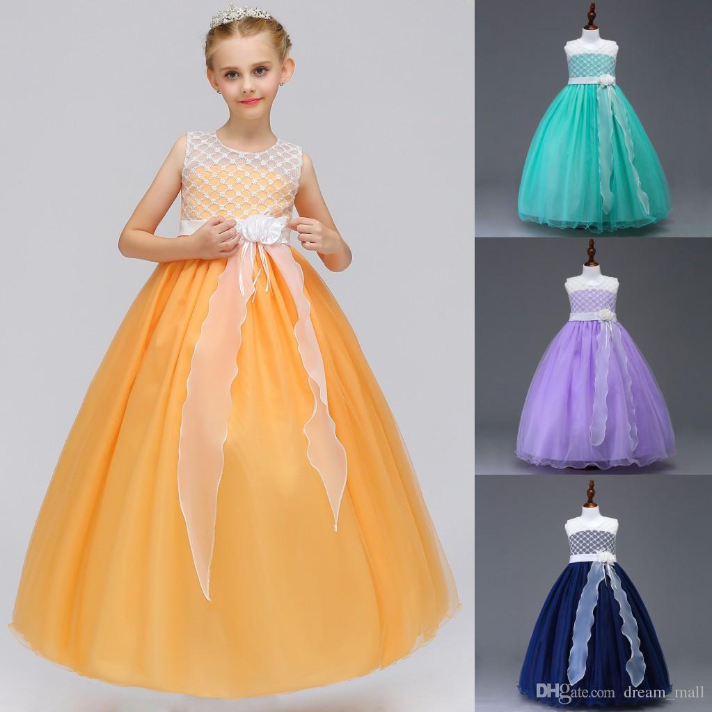 Long Flower Girl Dress Princesa Adolescentes Evening Vestido De Festa De Aniversário Crianças Roupas