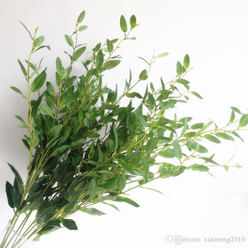 Ветвь оливкового дерева Искусственный зеленый / красный оливковый лист 6 стеблей / штука Поддельная зелень Растение Оливковая листва