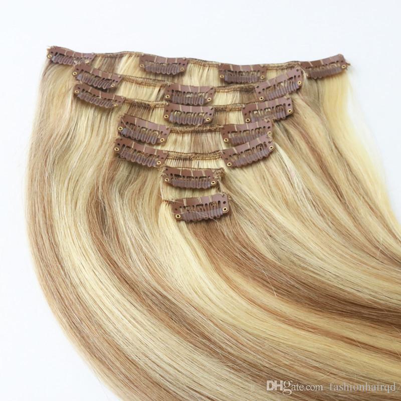 H4/613 Highlight Human Hair Clip in Hair Extensions Straight Raw Indian Virgin Hair Piano Clip Ins 7pcs 100g Per Set