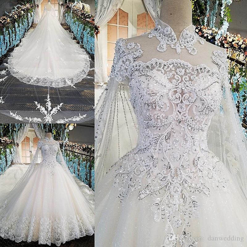 Artistic White High Neck Tulle Applique Beads Ball Gown Wedding Dresses Bridal Dresses Events Dresses Custom Size 6 8 10 12 W306081