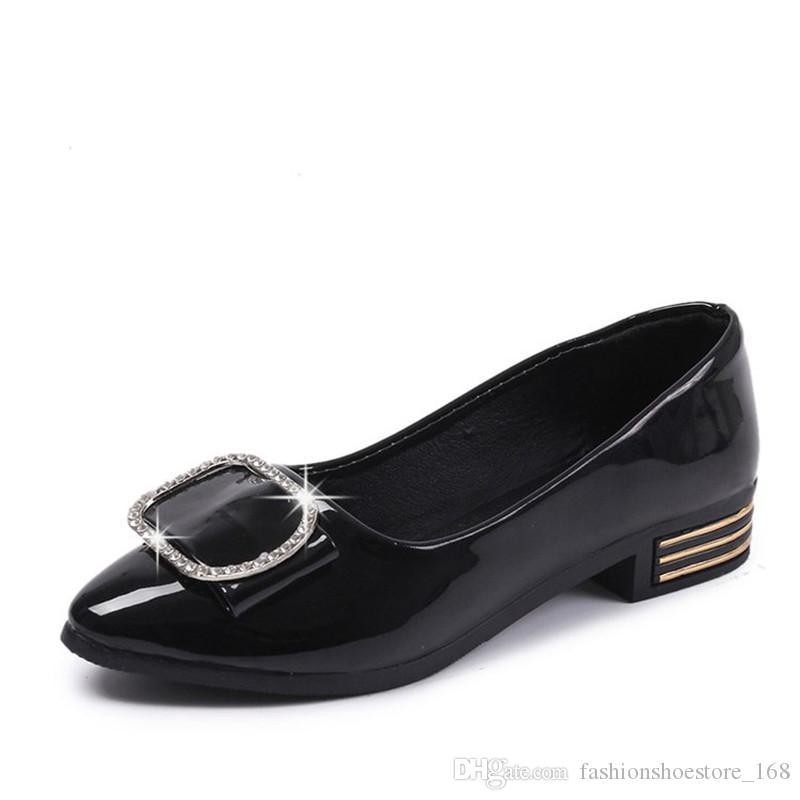 Outono Sapatos De Couro De Patente Diamante Laides Sapatos Baixos Confortável Mulheres Ballet Flats Femininos Preto Carreira Escritório Sapatos Grávidas Senhoras Sapato