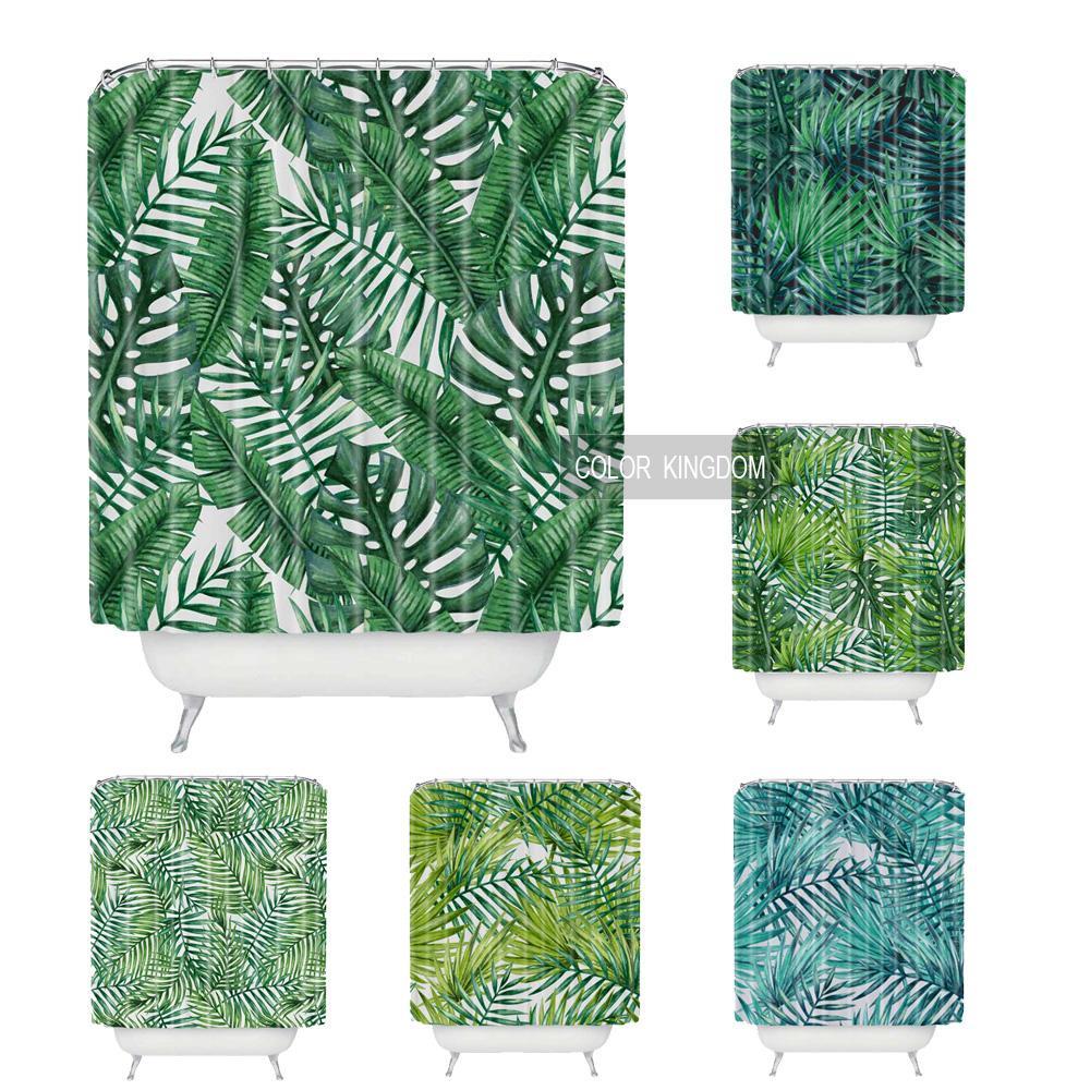 Sweetenlife Tropical Rideau De Douche Polyester Tissu Simple Salle De Bains Rideau Designs Vert Plantes Rideaux Bain Étanche 180 CM