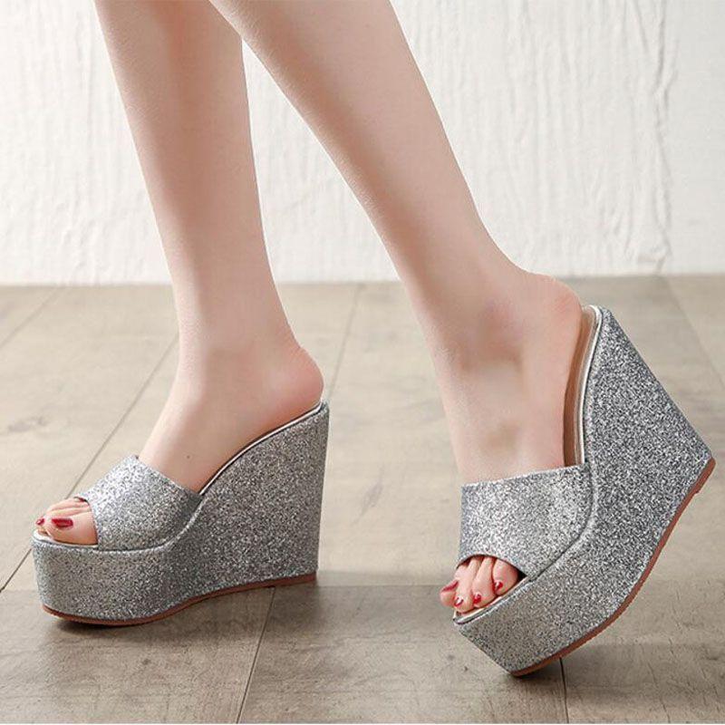 Gold/Silver Platform Wedges Sandals