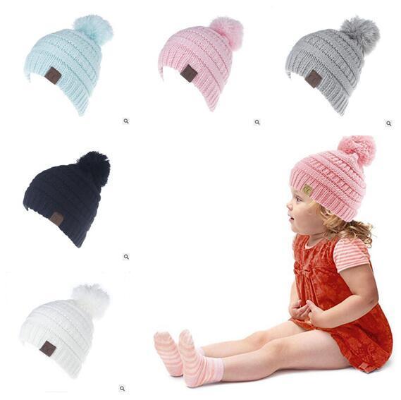Compre Gorras Pom Pom Niños Niñas Sombreros Cc Beanies Otoño Crochet ...