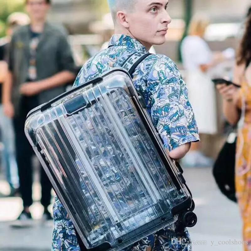 19SS New Transparent Suitcase Backpack Outdoor Waterproof 20Inch 24Inch Travel Camping Fashion Men Women DHL/TNT/UPS FAST SHIPPING HFLSBB104