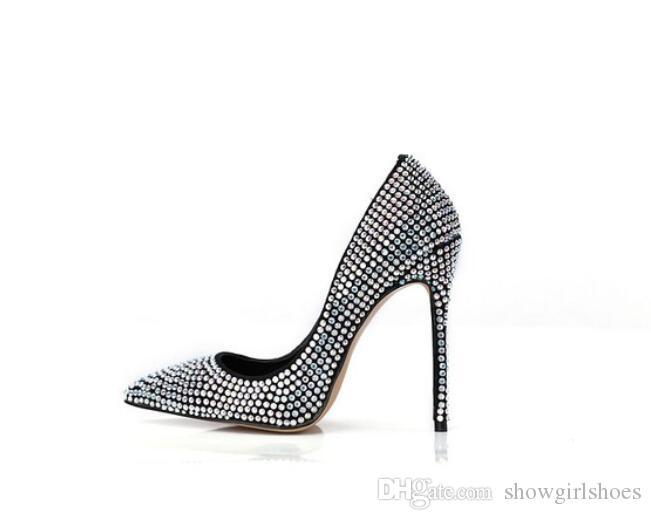 بلورات مطرزة عالية الكعب النساء أحذية كيم كارداشيان نمط أحذية الزفاف مثير أشار تو المرأة مضخات