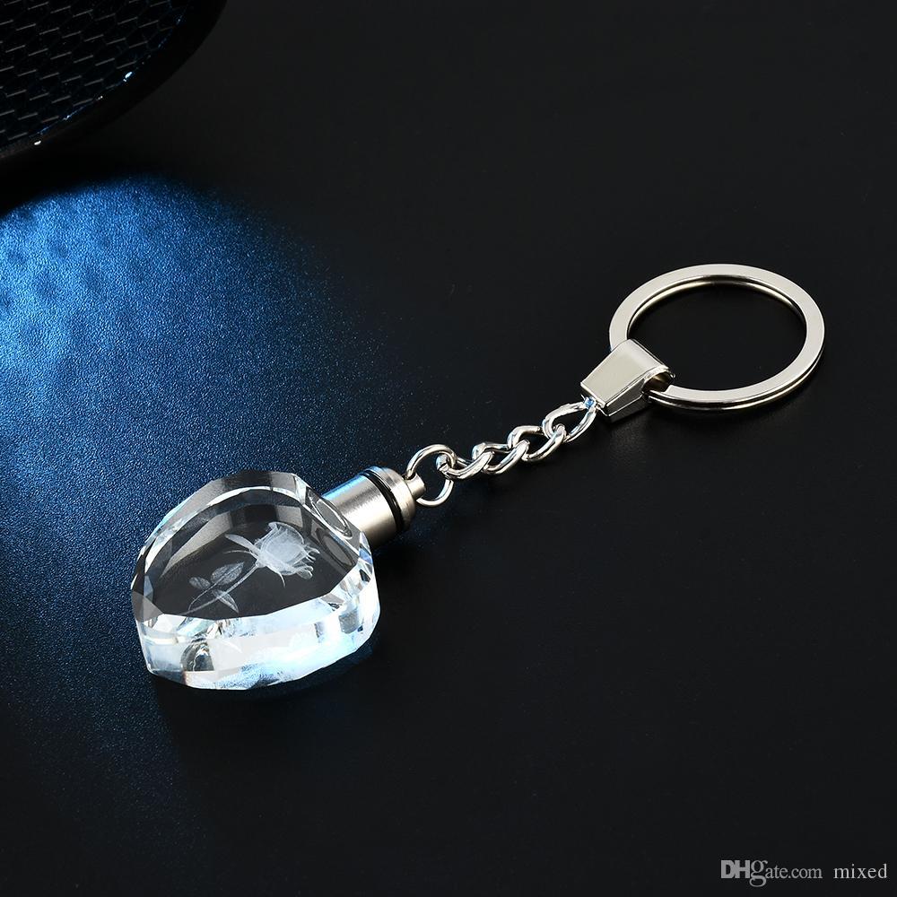 Новый Fairy Crystal Rose Свет Брелок Сердце Любовь Брелок Кольцо Брелок Для Подарка