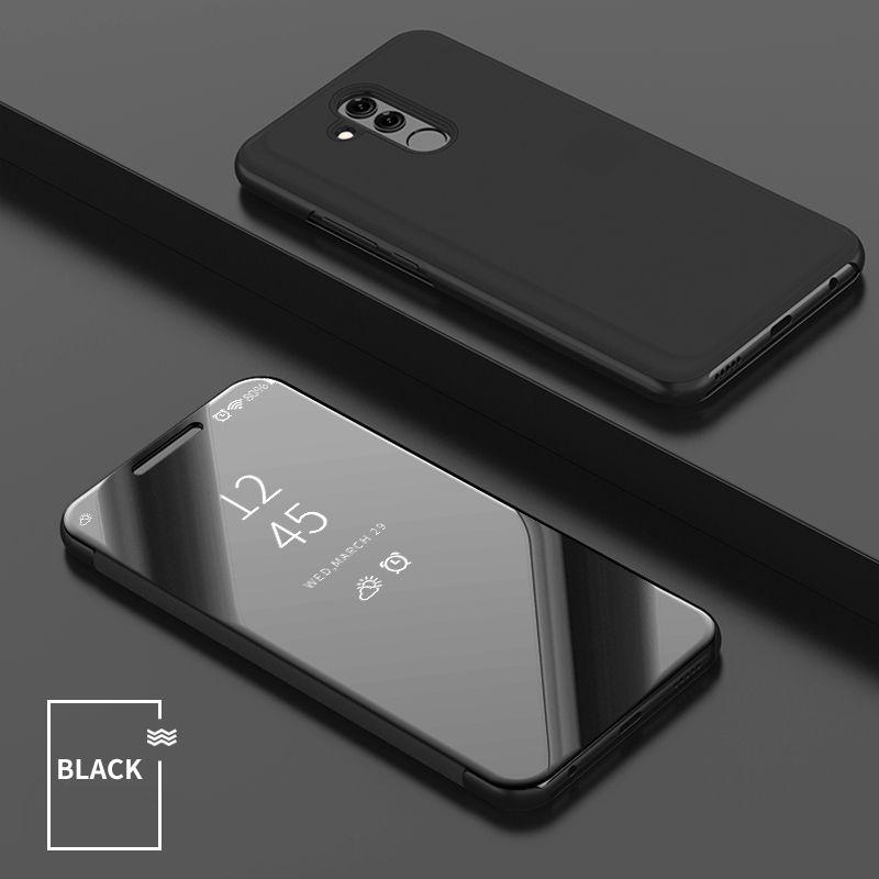 Huawei Nova 4에 대한 럭셔리 미러 클리어 뷰 케이스 Mate 20 P30 Lite 프로 P 스마트 2019 전화 커버 도금베이스 수직 스탠드