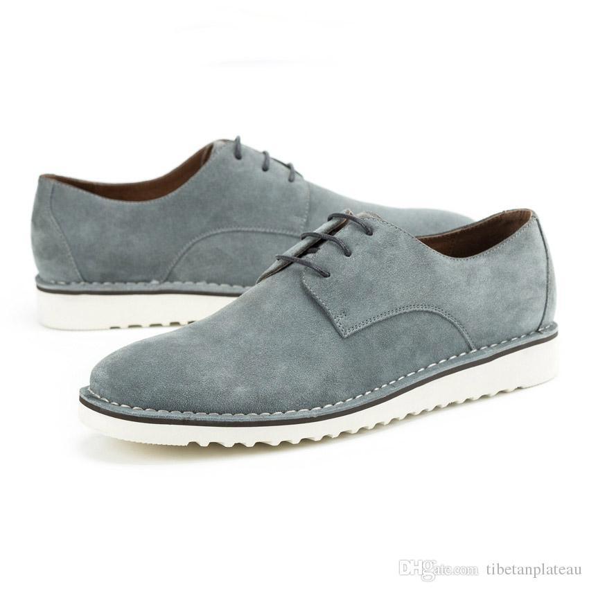 Fashion Genuine Leather Men's Cow Suede Derby Footwear Round Toe Handmade Man Flat Platform Formal Dress Outdoor Shoes