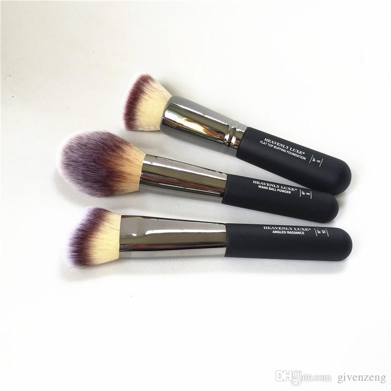 Heavenly Luxe Brushes # 6 Flat Top Buffing Foundation # 8 Wand Ball Powder # 10 Angled Radiance Contour Beauty Makeup Blender