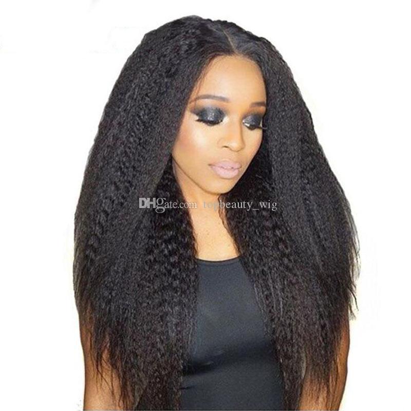 Kinky Em Linha Reta Perucas Dianteiras Do Laço para As Mulheres Negras Médio Cap 130% densidade Brazlian Cabelo Humano Lace Wigs Médio Rendas Marrom