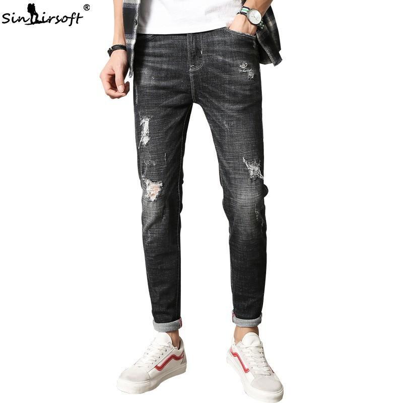 dernière sélection de 2019 vente en magasin nouvelles promotions 2018 Men Skinny Mens Black Jeans Pants Straight Stretch Slim Fit Ripped  Jeans Italian Designer Distressed Denim Pantalon Homme From Regine, &Price;  | ...