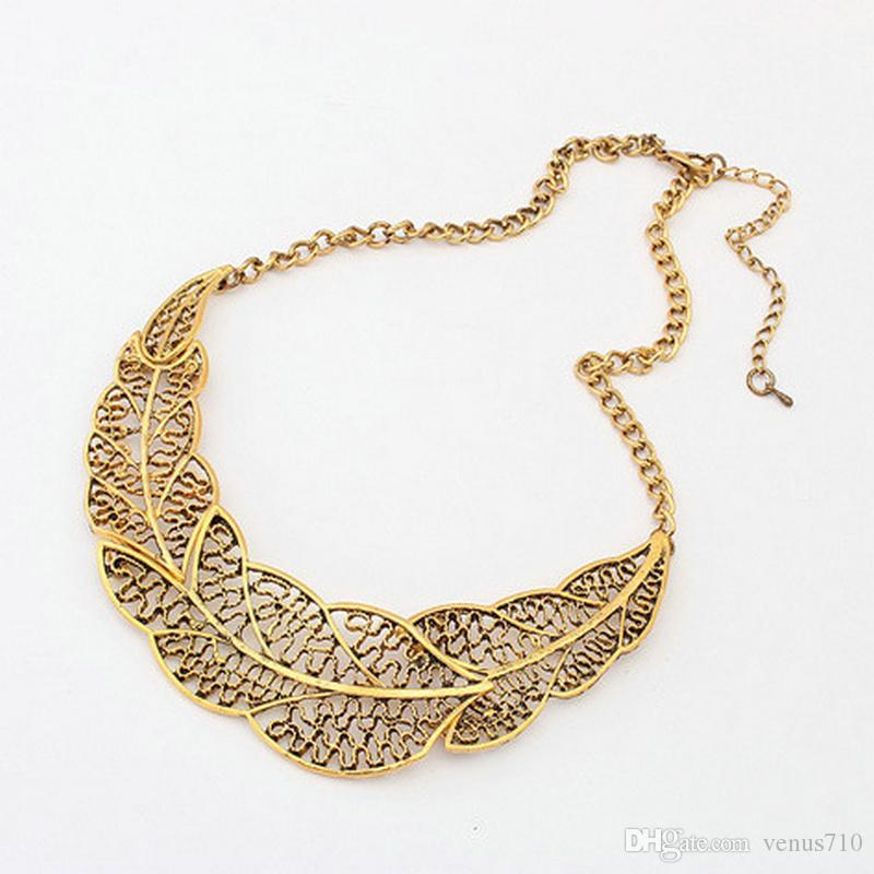 Vintage retro hollow leaf colar necklace short bohemian metal leaf chain choker statement necklace collar bib jewelry women