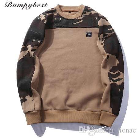 Patchwork Sweter Kamuflaż Bluzy męskie O-Neck Slim Fit Dnia Dziania Mężczyzna Bluza Mężczyzna Pullover US / EU Size XXL Wy09