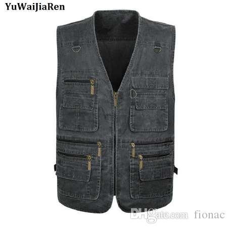 YuWaiJiaRen Oversize 7XL multifunzione Gilet da uomo con molte tasche Quick Dry Sleeveless Gilet da viaggio fotografia Vest