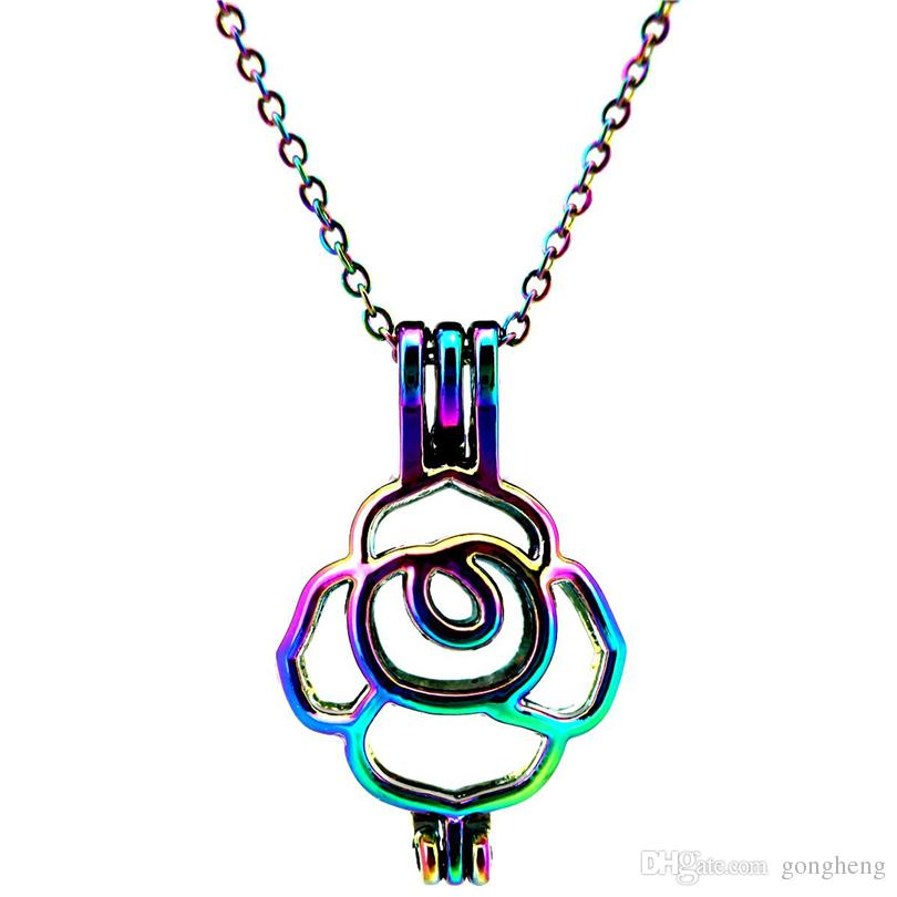 C393 цвета Жемчужная клетка 27 мм рост Роза нержавеющей медальон ожерелье-удача подарок эфирные масла диффузор