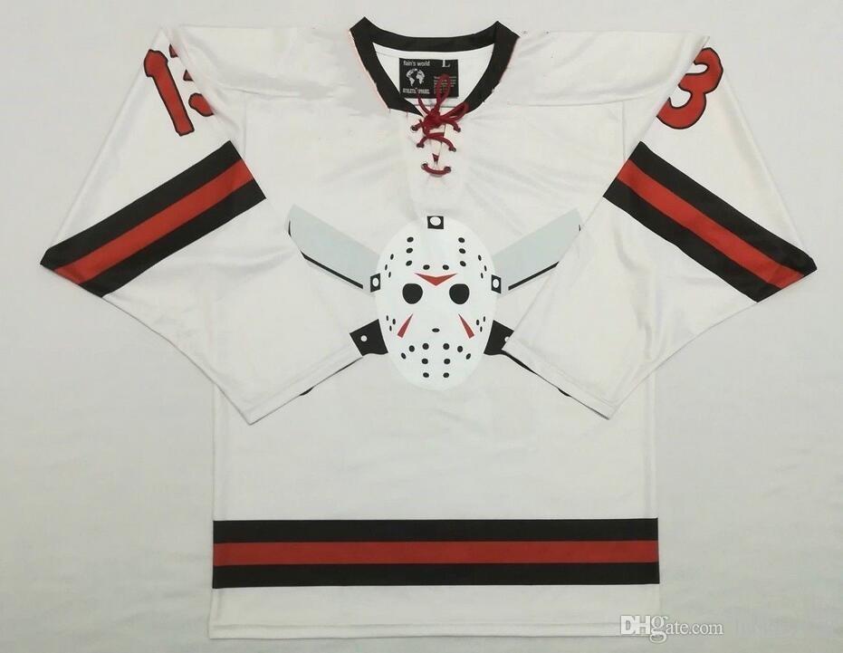 Freitag der 13. JASON VOORHEES Hockey-Jersey-Stickerei genähtes fertigen jede Nummer und Name Trikots