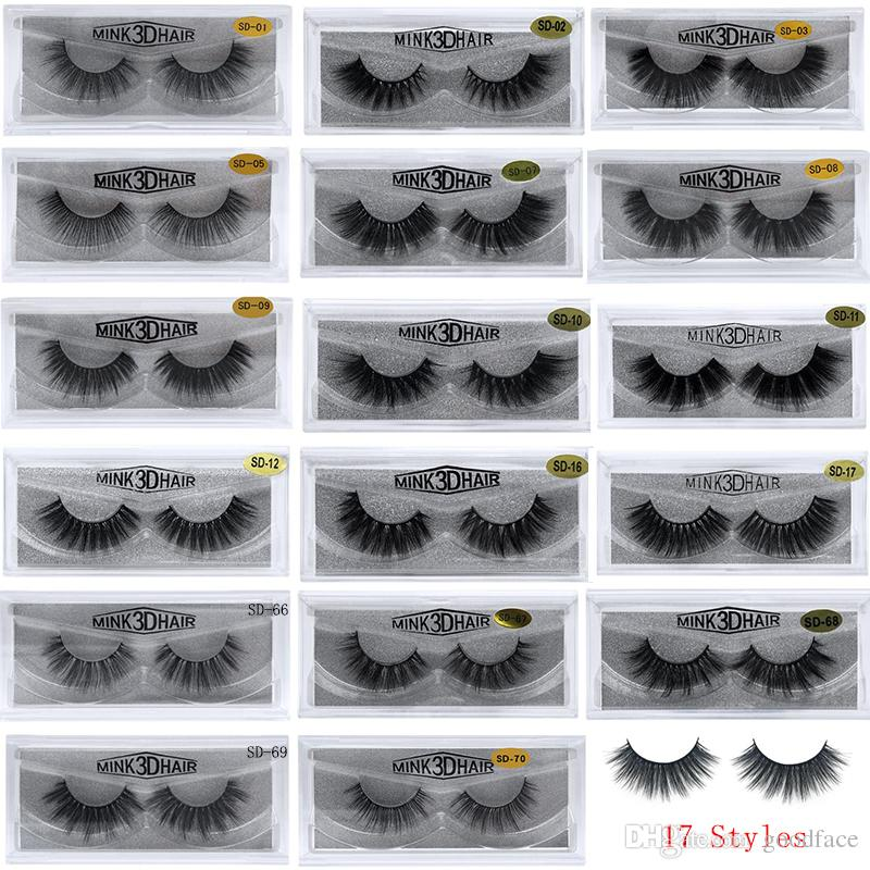 Visón 3D Pestañas Pestañas postizas Extensión de pestañas de ojos sucios Pestaña atractiva Pestañas de tira completa 17 Estilos