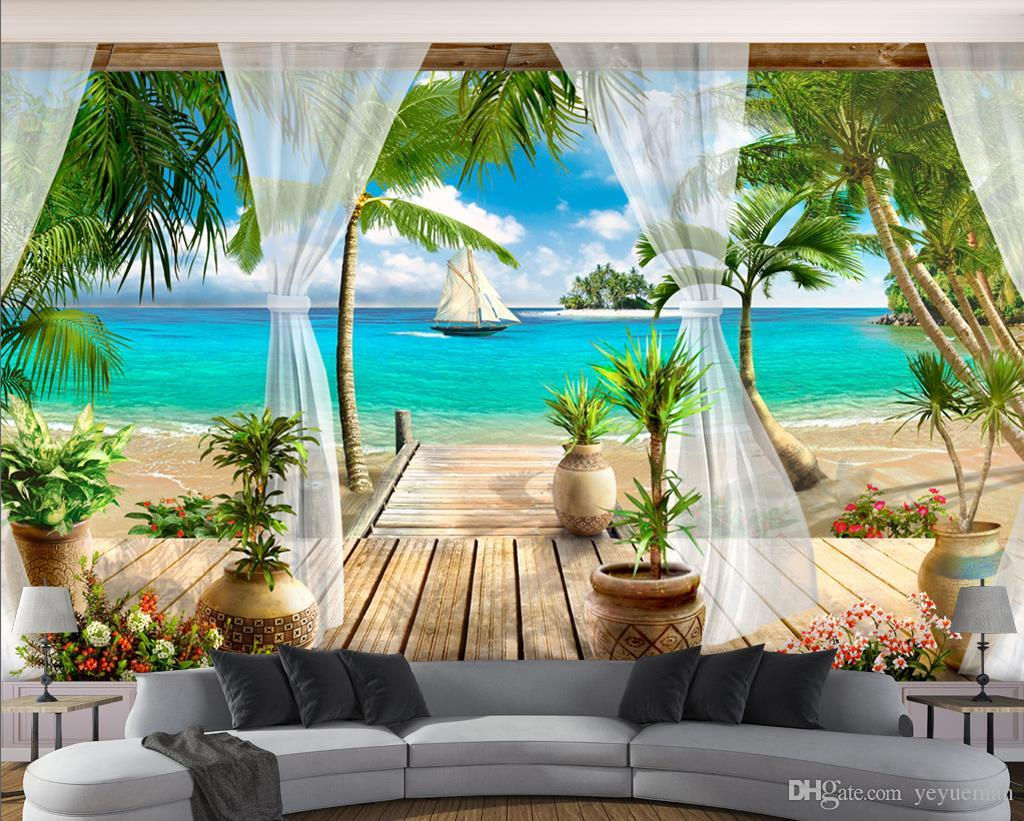 Acquista Carta Da Parati 3d Moderna Foto Wallpaper 3D Stereoscopico Di Alta Qualit  Balcone Vista Mare 3d Carta Da Parati Soggiorno Wall Papers Home