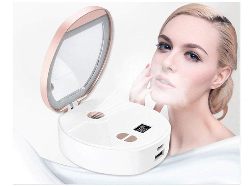 Portable Make Up LED Mirror Nano Cool Mist Spray Mineral Water Meter Facial Humidifier Face Steamer Mini Power Bank Beauty Instrument