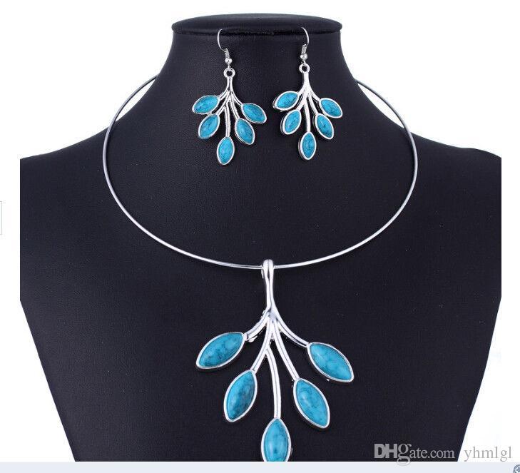 Mode Silber Rot Türkis HoopNecklace Ohrring Schmuck Sets