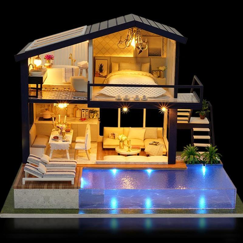 New Girl DIY 3D Mini Dollhouse 2018 Tempo Apartamento Casa Casa Mobiliário Brinquedos Educativos Móveis para Crianças Amor Presente