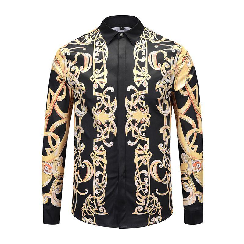 XIMIWUA 2018 Neue Ankunft Männer Shirts Langarm Goldenen Muster Print Casual Slim Fit Camisa Masculina Langarm Bluse Groß