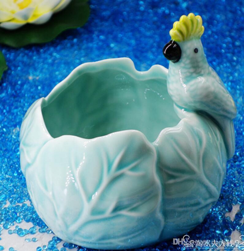céramique créatif perroquet fleurs vase pot bougeoir décoration de la maison artisanat chambre mariage décorations artisanat porcelaine figurines