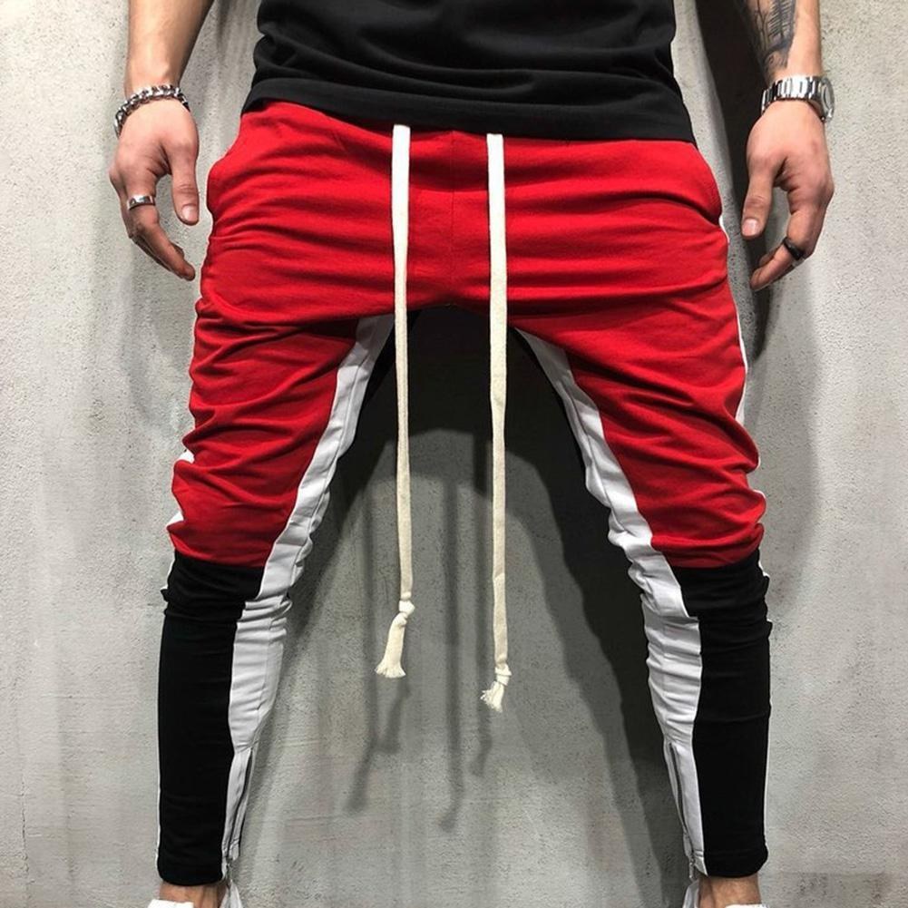 Pantalons Hommes Hip Hop Casual Side Zipper Color Block piste Drawstring