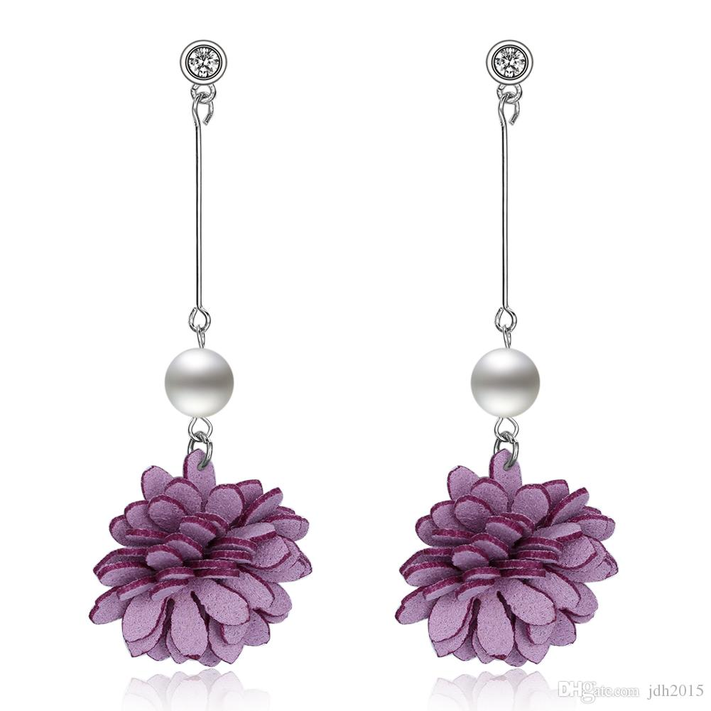 Women Long Simulated Pearl Chain Earrings with Flower Pendant Crystal CZ Studs