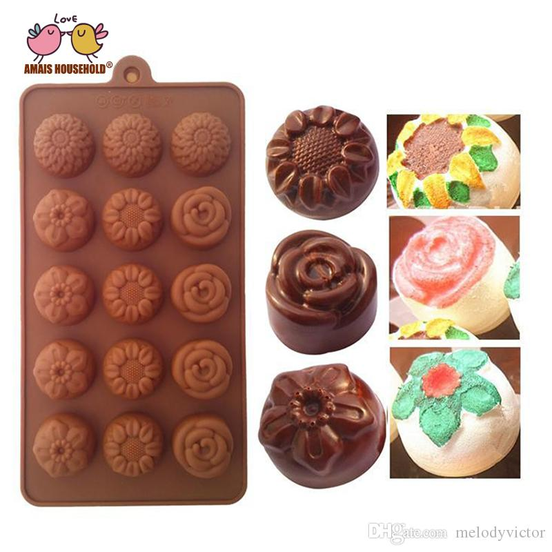 (5pcs/lot) Wholesale FDA Chocolate Silicone Mold, Cookie Candy Jelly Sweet Fondant Mold For Cake Decoration Tool