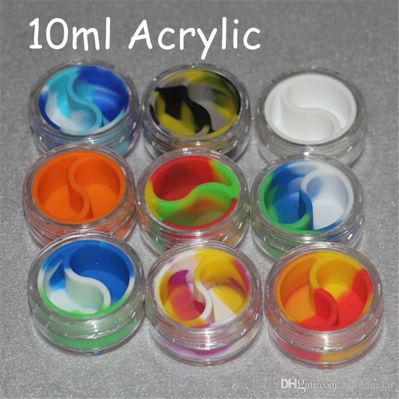 Wax acrylic Containers Silicone Jars Dab Wax Container 10ml Tin Dab Plastic Silicone Containers For Wax Pass FDA & LFGB Tests