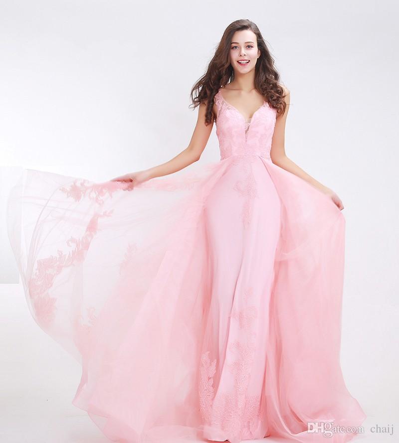 Fantasy Pink Prom Dresses 2017 Deep V Neck Backless Appliques Tulle ...