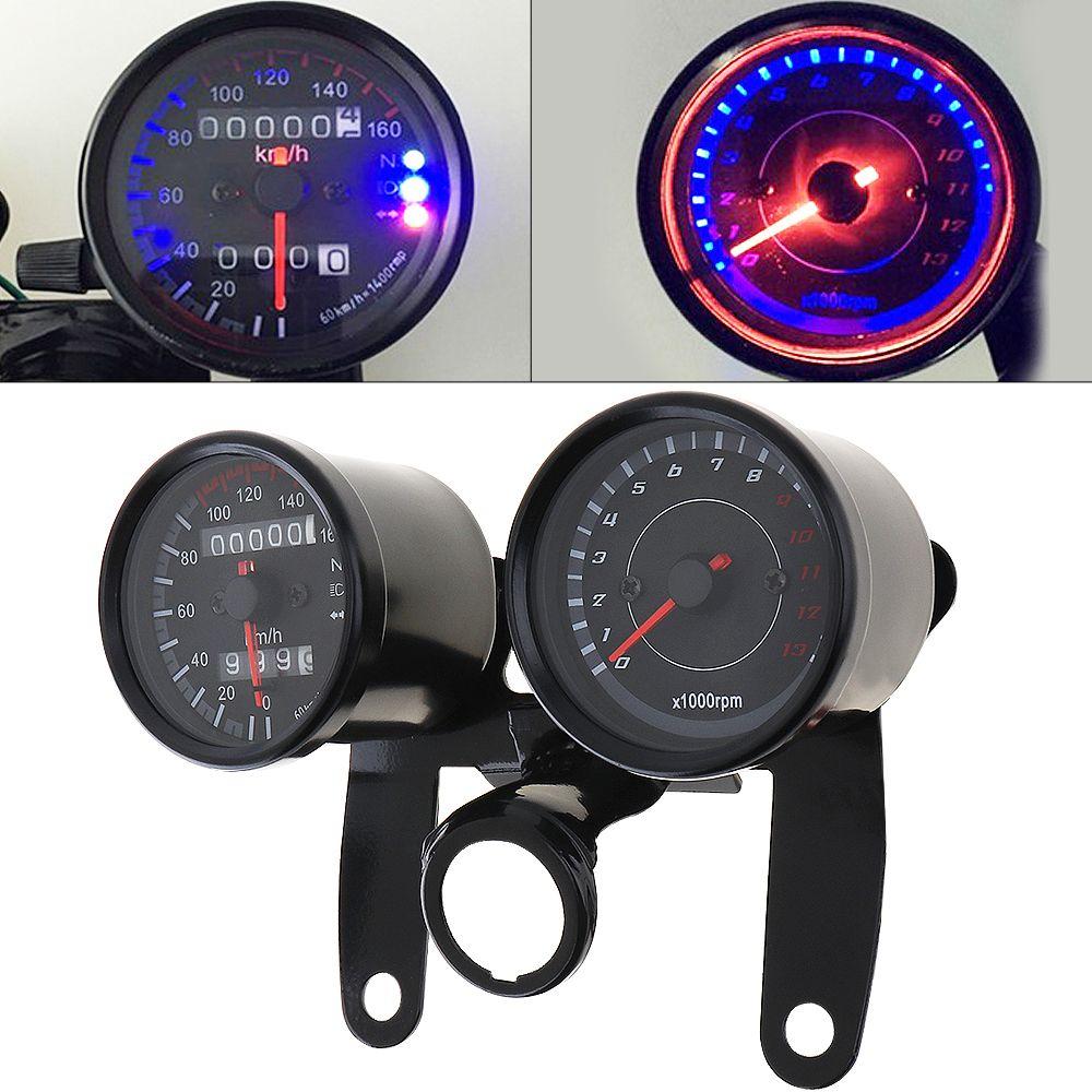 Universal Motorcycle LED Odometer+Tachometer Speedometer Gauge With Bracket 12V