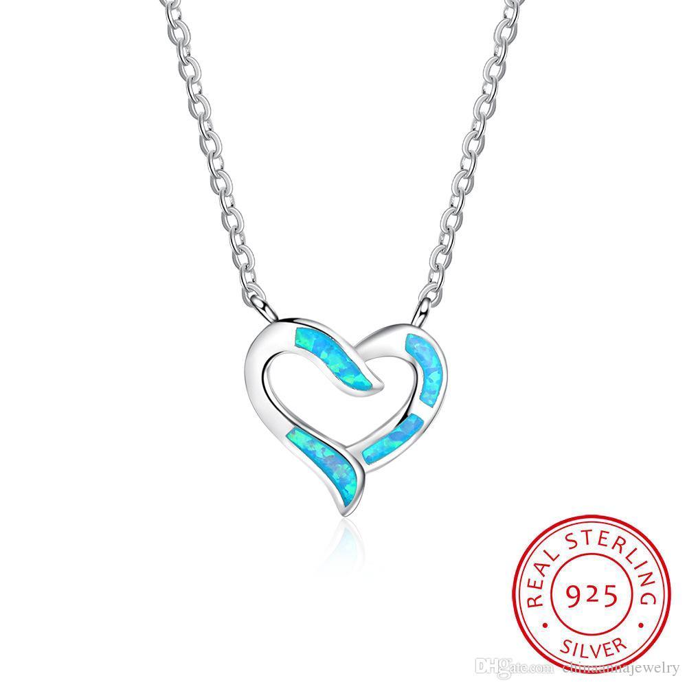 Haute Qualité Rhodium Coeur Pendentif Collier Collier Bijoux Blanc Couleur Synthétique Opal Pjewelry for Love Grossiste