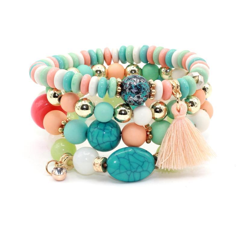 4pcs / set mode Multilayer cristal Bonbons Perles Tassel Bracelets Bangles Strand Bracelets stretch amitié pour les femmes