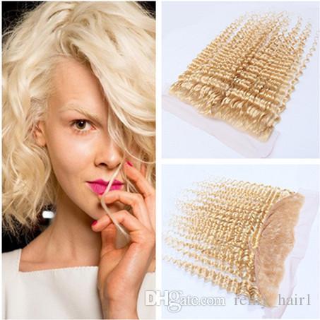 # 613 Rubia virgen cabello humano brasileño encaje completo Nudos blanqueados frontales blanqueamiento de onda profunda Rubia 13x4 cierre frontal de encaje de oreja a oreja